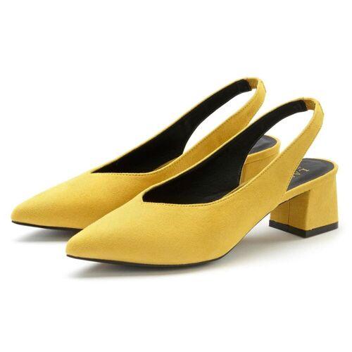 LASCANA Slingpumps mit Blockabsatz, gelb