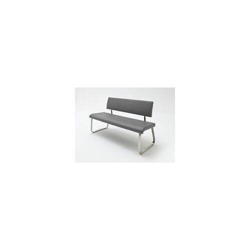 MCA Furniture Sitzbank Arco - Leder Grau - Edelstahl - 155cm