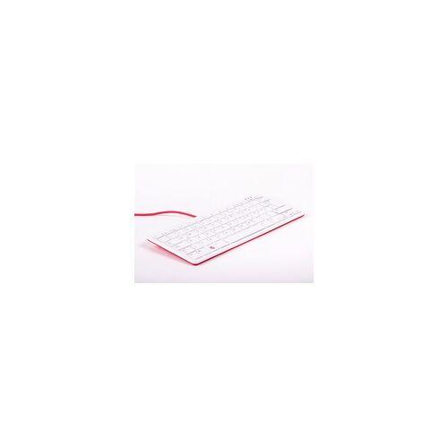 Raspberry offizielle Raspberry Pi Tastatur, DE-Layout, inkl. 3 Port USB Hub, rot/weiß