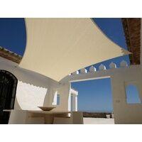 Aquagart Sonnensegel 3m x 3m Quadratisch Sandfarben Sonnenschutz Windschutz Sonnendach
