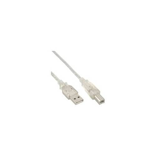 InLine USB 2.0 Kabel, A an B, transparent, 0,3m