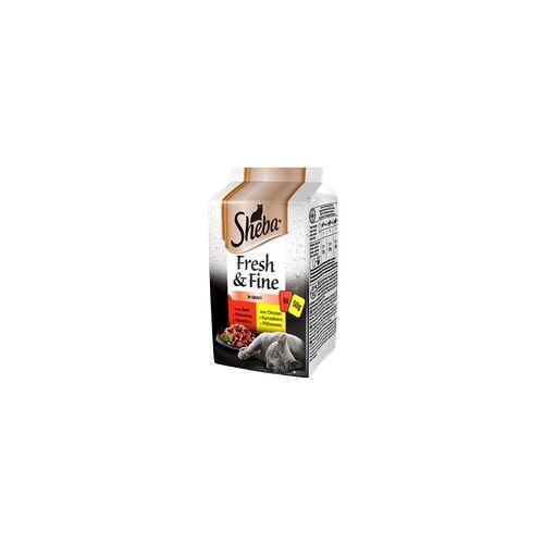 SHEBA Beutel 6x50g Fresh&Fine - feuchtes Katzenfutter in Sauce (mit Huhn, Rind, Ente)