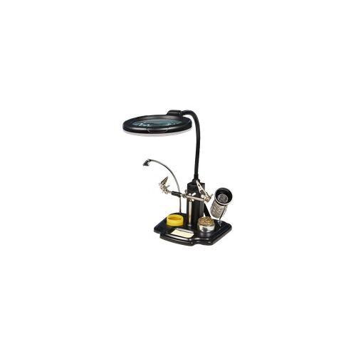 McPower Dritte Hand mit LED-Lupe McPower, Lötkolben Halter, 3-fache Vergrößerung