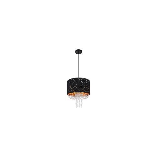 Globo Design Kristall Hänge Lampe Decken Leuchte Pendel schwarz-gold Samt Ess Zimmer Beleuchtung