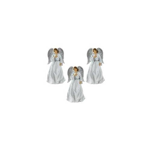 ETC Shop 3er Set Vintage Engel Weihnachten Fensterbank Dekoration Krippen Figuren 23 cm