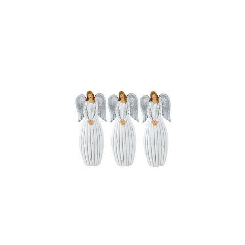 ETC Shop 3er Set X-MAS Engel Weihnachts Dekoration Fensterbank Steh Figuren silber Flügel