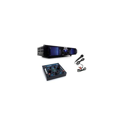 ETC Shop PA DJ 2400 Watt Verstärker USB MP3 Mixer Mischpult Cinch Kabel Mikrofon DJ-209