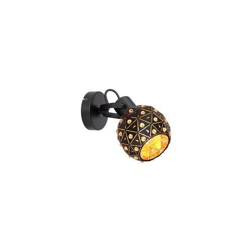 Globo Strahler K9 Kristalle Schirm innen gold schwarz matt klar Wandschild rund