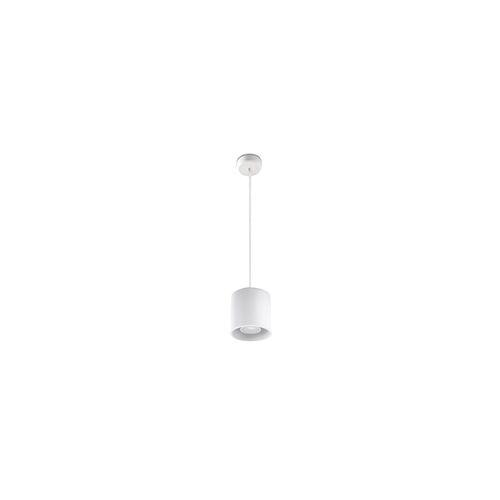 ETC Shop Pendelleuchte Zylinder Esstisch Lampen modern Pendelleuchte Wohnzimmer, Aluminium weiß, 1x GU10, DxH 10x80 cm, Esszimmer