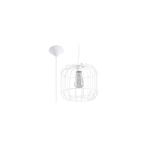 ETC Shop Pendelleuchte Deckenleuchte Käfig Weiß Stahl H 100 cm Esszimmer Schlafzimmer
