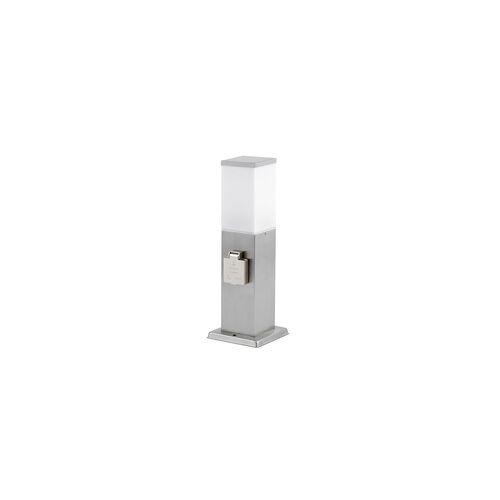 ETC Shop Standleuchte Außen mit Steckdose Aussenleuchte mit Steckdose Gartensteckdose mit Licht, 2x Steckdose Stahl, 1x E27, H 36 cm, Garten
