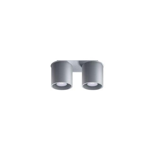 ETC Shop Deckenstrahler modern Designer Küchenlampen Strahler 2 flammig Deckenlampe Spots, Aluminium grau, 2x GU10, LxH 26 x 12 cm