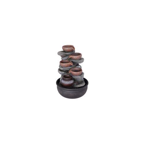 ETC Shop Tisch-Brunnen Deko Springbrunnen LED Farbwechsel RGB Kleiner Zierbrunnen für zu Hause, Schalen schwarz grau, DxH 25x40 cm