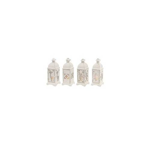 ETC Shop Kleine Laterne Batterie Laterne Weihnachten Weihnachtslampe Innen Weihnachtslaterne in weiß Shabby Chic, 1x Stern 1x Tanne 1x Rentier 1x Engel, 1x LED, BxH 7 x 19, 4er Set