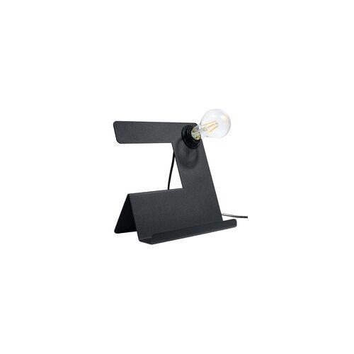 ETC Shop Tischlampe Tischleuchte Stahl Schwarz H 24 cm Wohnzimmer Esszimmer Schlafzimmer