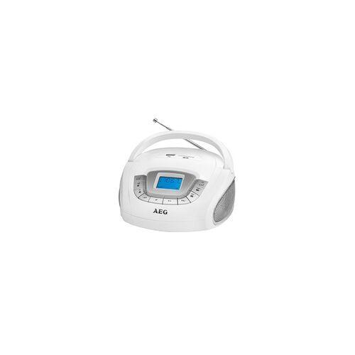 AEG Stereo Lautsprecher Radio Boombox USB SD Musik Anlage AUX AEG SR 4373 WEISS