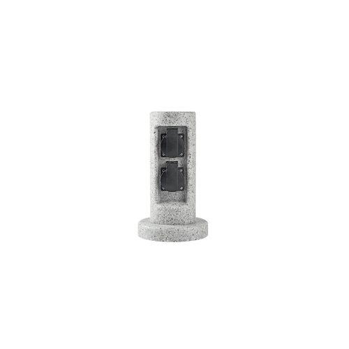 ETC Shop Steckdosen Pfosten Stein Optik 2-fach Energieverteiler Garten Außen Säule