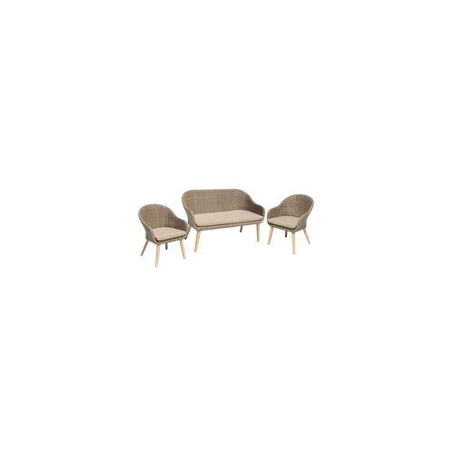 Harms Import Sofa & Stuhl Set PUEBLO 3-teilig Akazie FSC 100% / Kunststoffgeflecht 985148