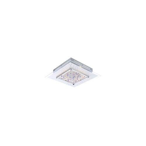 Globo Decken Lampe Leuchte Esszimmer Chrom Kristalle quadratisch edel Globo 48430-6 Dalila