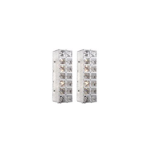ETC Shop 2er Set LED 10 Watt Wand Leuchte Beleuchtung Licht Lampe K9 Kristalle klar