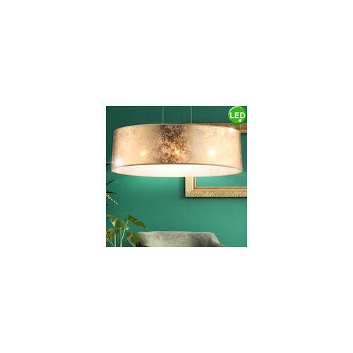 ETC Shop Hänge Pendel Leuchte Textil Decken Arbeitszimmer Lampe im Set inklusive LED Leuchtmittel