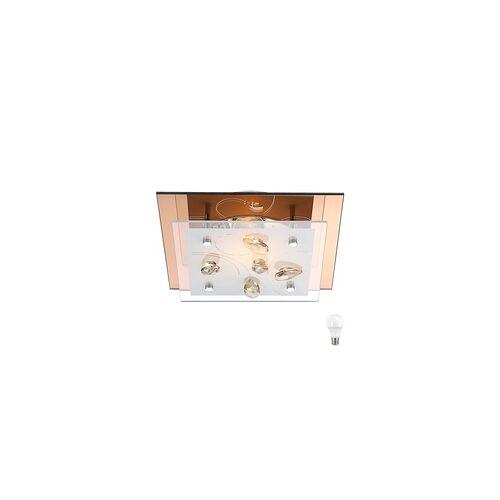 ETC Shop Decken Leuchte Esszimmer Küche Kristall Amber Glas Lampe Champagner im Set inkl. LED Leuchtmittel
