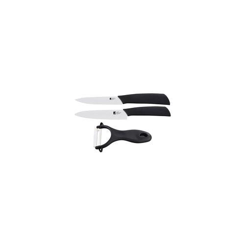 Bergner Keramik Messer Set 3-teilig Küchenmesser Schneidemesser Allzweckmesser Schäler Soft-Touch Griff BERGNER
