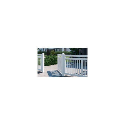 meingartenversand.de Holz Vorgartenzaun Linea: Gartenzäune mit einem Gartenzaun Element und drei Zauntore in Weiß