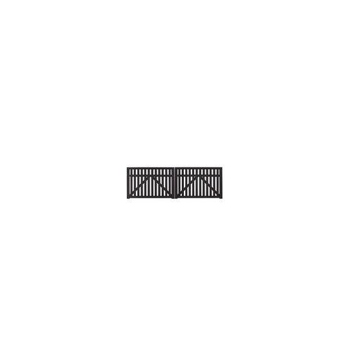 meingartenversand.de Doppeltor der Gartenzaun Serie Country Schwarz für den Vorgartenzaun in Größe 300 x 98 cm aus Kiefer und Fichtenholz