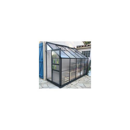 GREEN PROTECT Anlehngewächshaus 3,9m² anthrazit, Doppelstegplatten aus Polycarbonat 4mm + Fundament Green Protect