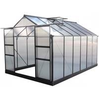 GREEN PROTECT Gewächshaus 9,13m² anthrazit, Doppelstegplatten aus Polycarbonat 4mm + Fundament Green Protect