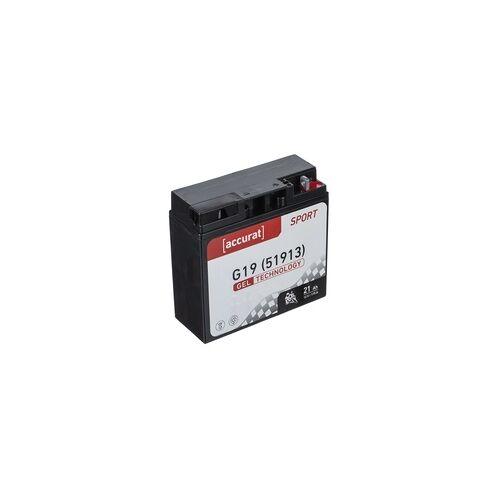 Accurat Sport GEL G19 Motorradbatterie 21Ah 12V (DIN 51913) YG51913 GEL12-19 GT20H-3