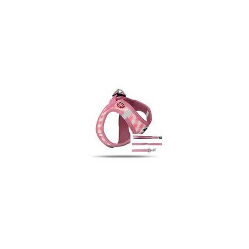 Curli Vest Geschirr Puppy Set Pink-caro 3XS