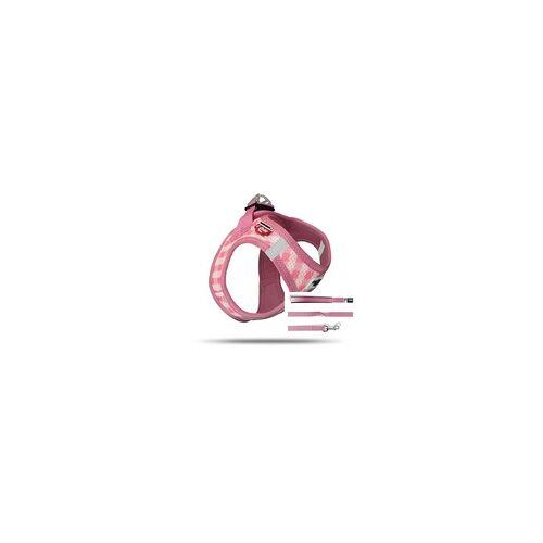 Curli Vest Geschirr Puppy Set Pink-caro 2XS