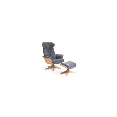 CONFORM Relaxsessel TIMEOUT mit Holzfuß, Schaffell CHARCOAL