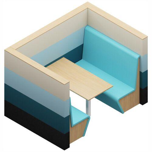 SAND W03-1 Akustik-Wandsystem mit niedrigem Tisch und Sitzbänken, b235xt170xh160cm