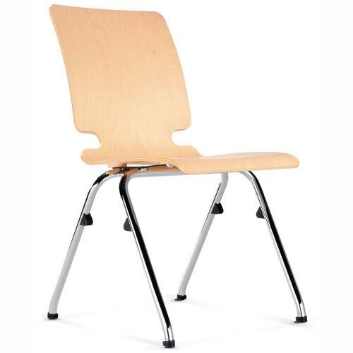 AXO Besucherstuhl mit 4-Fuß-Gestell und Holz-Sitzschale