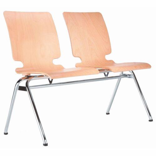 AXO 2er Sitzbank mit 4-Fuß-Gestell und Holz-Sitzschalen