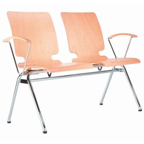 AXO 2er Sitzbank mit 4-Fuß-Gestell und Armlehnen, Holz-Sitzschalen