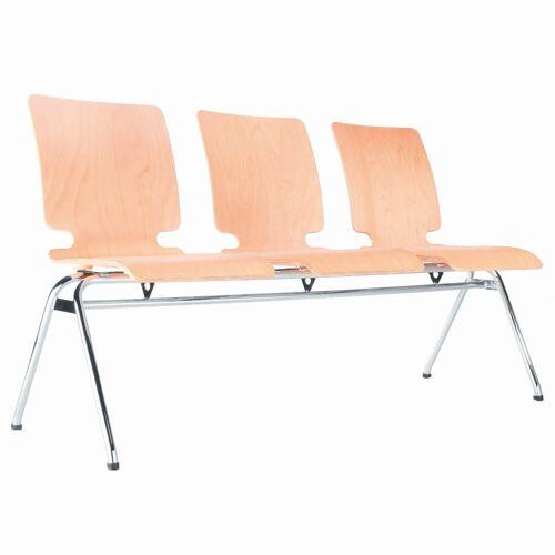 AXO 3er Sitzbank mit 4-Fuß-Gestell und Holz-Sitzschalen