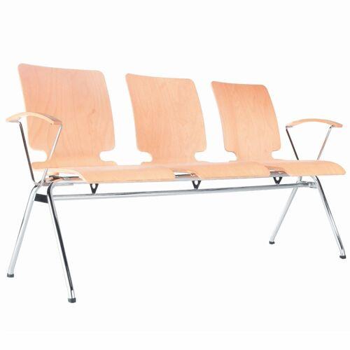 AXO 3er Sitzbank mit 4-Fuß-Gestell und Armlehnen, Holz-Sitzschalen