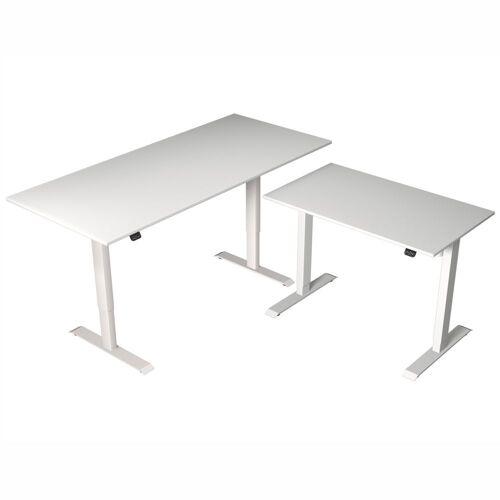 KERKMANN MOVE 1 Steh-Sitz-Schreibtisch mit Beistelltisch, T-Fuß-Gestell, 180/100x80/60x72-120cm