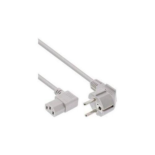 InLine - Stromkabel - CEE 7/7 (M) gewinkelt bis IEC 60320 C13 gewinkelt - 50cm - Grau (16651L)