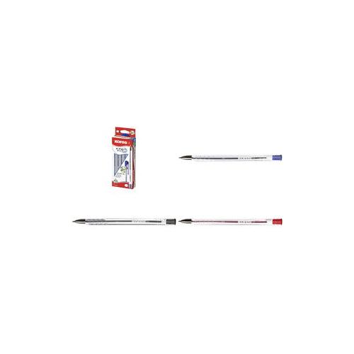 Kores Einweg-Kugelschreiber K-PEN Super Slide K11, rot Semi-Gel Tinte - schreibt weich wie ein Gelschreiber - 12 Stück (KP37931)
