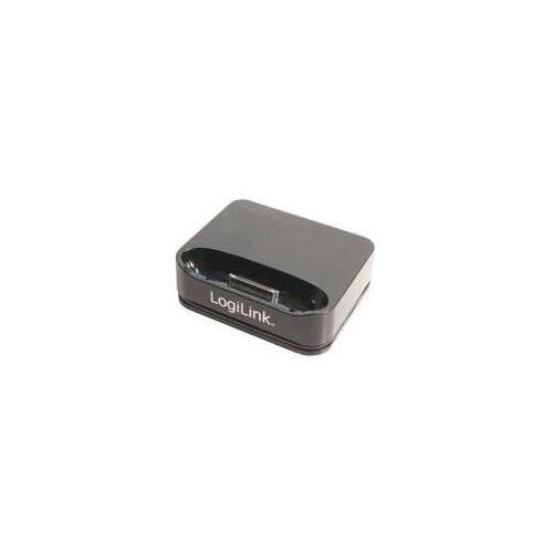 LogiLink USB-SYNC-Docking Station für iPod / iPhone mit iPod Stecker zum Laden von iPod, iPhone, USB 2.0 Stand- (UA0093)