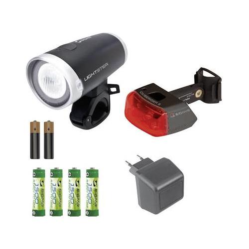 Sigma Fahrradlampen-Set Lightster und Cuberider II Fahrrad-Beleuchtung, Fahrradlicht, Fahrrad Zubehör 18440 Lightster, C (18440)