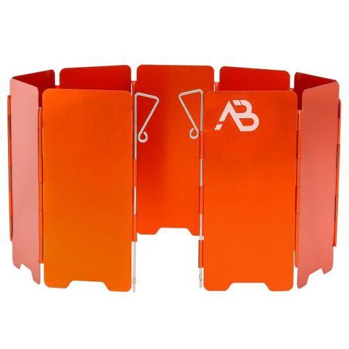 AB Gaskocher Windschutz Alu faltbar 9 Lamellen orange