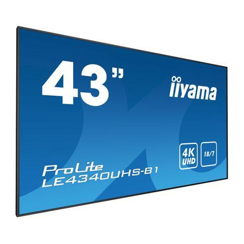 """IIYAMA 43"""" 3840 x 2160, 4K UHD AMVA3 panel, Fan-less LE4340UHS-B1"""