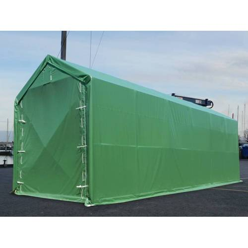 Dancover Lagerzelt PRO XL Bootszelt Zeltgarage Garagenzelt PRO XL 4x10x3,5x4,59m, PVC, Grün