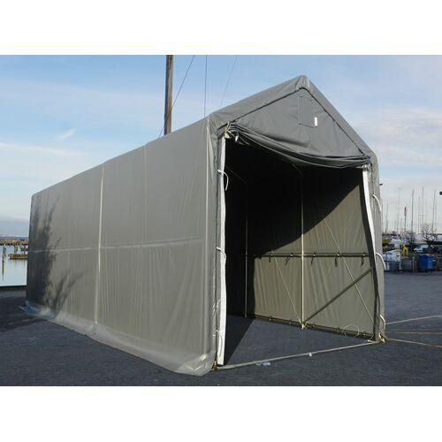 Dancover Lagerzelt PRO XL Bootszelt Zeltgarage Garagenzelt PRO XL 4x10x3,5x4,59m, PE, Grau